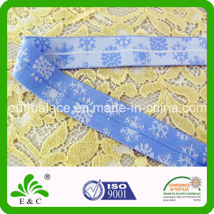 Light Blue Snowflake Pattern Fold Over Jacquard Elastic Band