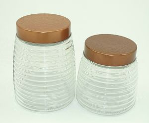 Copper Screw Retro Glass Food Container Glass Storage Jar pictures & photos