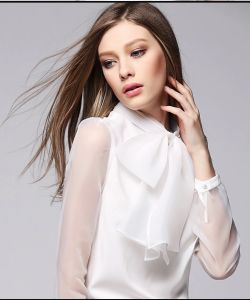 Ladies Short Sleeve Shirt 100% Polyester Chiffon Blouse pictures & photos