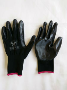 13G Polyester Shell Nitrile Coated Safety Work Gloves (N6002) pictures & photos