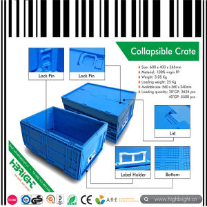 Convenient Turnover Plastic Collapsible Crate pictures & photos