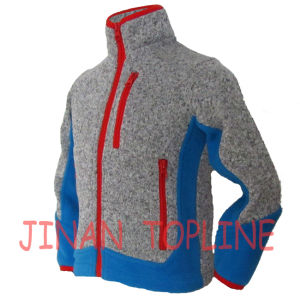 Children Stitching Colour Full Zipper Microfleece Jacket pictures & photos