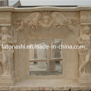 Outdoor Fireplace Mantle, Marble Travetine Beige Fireplace with Human Carved pictures & photos