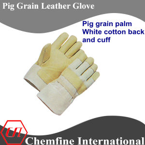 White Cotton Back, Full Palm, Yellow Pig Grain Leather Work Gloves pictures & photos