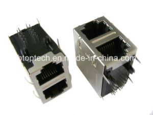 2X1 Dual Industrial RJ45 Jack with 10/100 Base-T Transformer