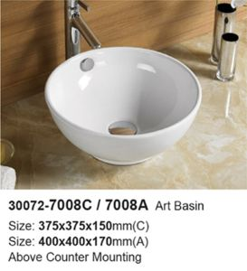 2015 Modern Round Bathroom Over Counter Mounting Washing Sink (30072) pictures & photos