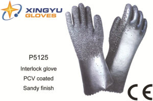 Cotton Interlock PVC Coated Safety Work Glove (P5125) pictures & photos
