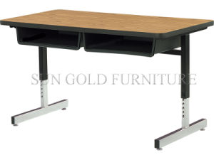 Cantilever-Leg Double Student Desk with Laminate Top (SZ-SF13) pictures & photos