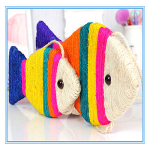 Pet Products Toy Colorful Pet Sisal Fish Shape Scratch Plate Cat Toys pictures & photos