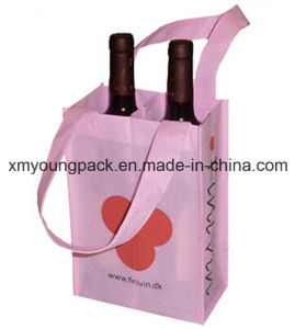 Two Bottle Non-Woven Fabric Reusable Wine Bottle Gift Bags pictures & photos