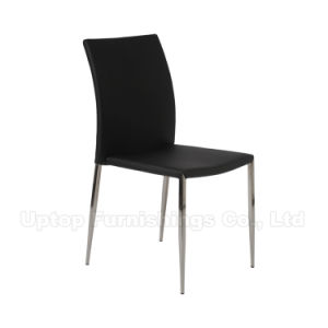 Guangdong Contract Restaurant Furniture Black Leather Metal Dining Chair (SP-LC224) pictures & photos