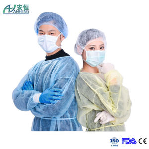 Elasticated Premier Disposable Long Sleeve Yellow Isolation Gown pictures & photos
