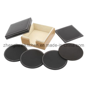 4 PCS Leather Cup Coaster (600018) pictures & photos