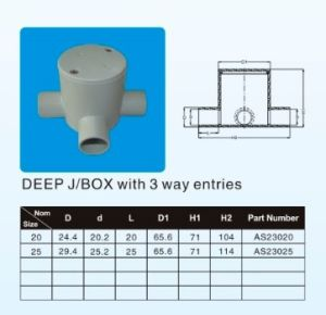 Deep J/Box with 3 Way Entries Conduit System in AS/NZS 2053 Standard to Austrical Market (LT-AS/NZS2053-18) pictures & photos