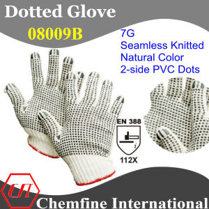 7g Natural Color Polyester/Cottonknitted Glove with 2-Side Black PVC Dots/ En388: 112X pictures & photos