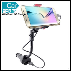 Mobile Cell Phone Universal Car Mount Holder with Dual USB Charger pictures & photos