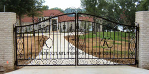 European Style Popular Wrought Iron Double Swing Gates pictures & photos