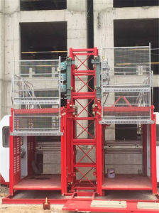 Construction Hoist with Cages for Sale by Hstowercrane pictures & photos