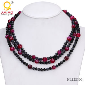 2014 Crystal and Agate Three Rows Necklace Costume Jewelry pictures & photos