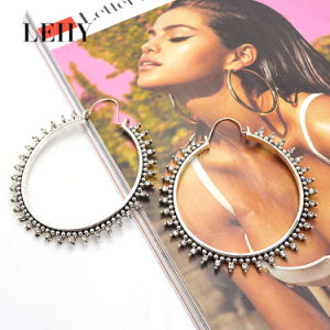 Fashion Exquisite Crystal Big Circle Statement Jewelry Alloy Hoop Earrings pictures & photos