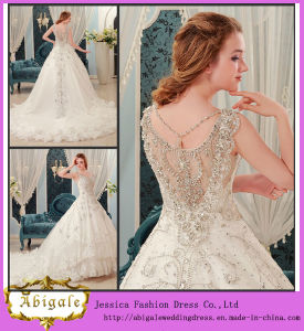 Luxury Ball Gown V Neck Floor Length Chapel Train Beaded Crystals Wedding Dress (MN1005)