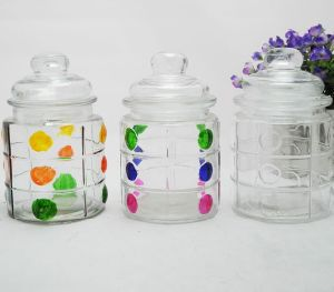 Colored Polka-DOT Glass Storage Jar pictures & photos