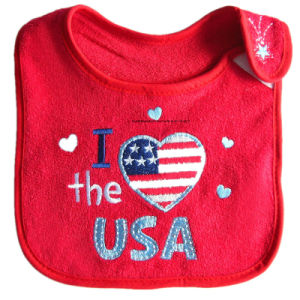 Customized Cute Design Embroidered Baby Girl′s Cotton Terry Promotional Baby Drooler Bibs Pinafore pictures & photos