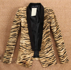 Women′s Leopard Turn Down Collar Casual Suit, Jacket