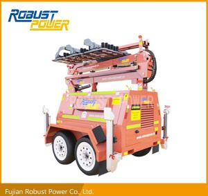 Four Folded Heavy Duty Trailer Hydraulic DC LED Mobile Lighting Tower pictures & photos