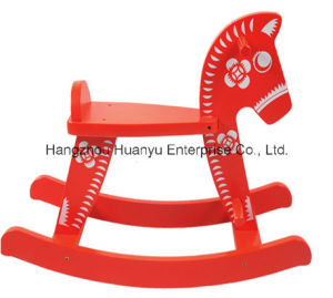 Factory Supply Wooden Rocking Horse-Red Flower Horse Rocker pictures & photos