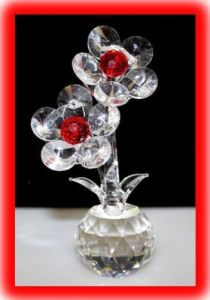 Twin Crystal Glass Flower Ornament pictures & photos