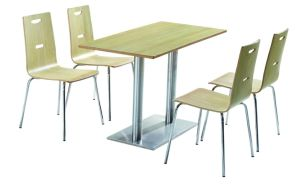 4 Seats Dining Table and Chair Canteen Table Fast Food Table with Chairs pictures & photos