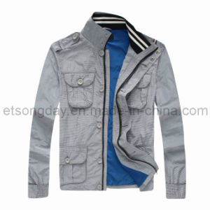 Hot Sale Gray 100% Polyester Men′s Casual Jacket with Highneck (168JM) pictures & photos