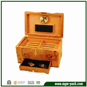 Deluxe Orange Wood Packing Cigar Box with Drawer pictures & photos