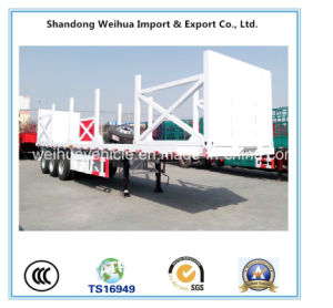 High Quality 60 Ton Wood Transport Low Bed Semi Trailer with Stake pictures & photos