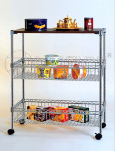 Mobile DIY Metal Wire Food Storage Cart with Basket pictures & photos
