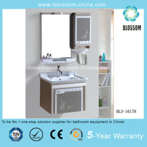 PVC Waterproof Wall-Hung Bathroom Cabinet, Vanity with Silver Mirror (BLS-16178) pictures & photos