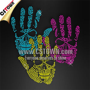 Hand Skull Pattern Custom Clothing Neon Rhinestud Iron on Transfer