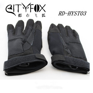 Police Tactical Swat Military Leather Nylon Black Hawk Gloves pictures & photos