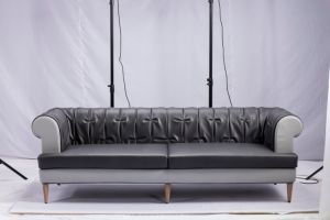 Factory Supply Cheap Leather Upholstered Sofa Set for Home (F909) pictures & photos