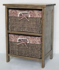 Wooden Cabinet with 2 Wicker Drawers (ZLC08-934)