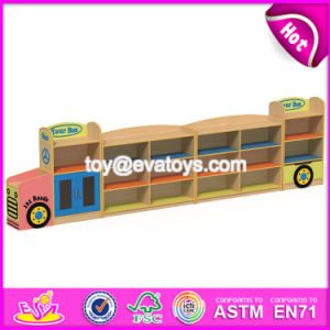 New Design Cartoon Bus Shape Multi Storage Shelf Wooden Kids Storage Cabinet W08c208 pictures & photos