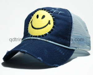 Grinding Washed Hand Stitches Applique Embroidery Sport Trucker Cap (TRT023) pictures & photos