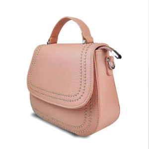 Lady Genuine Leather Handbags Fashion Studs Crossbody Messenger Bag pictures & photos