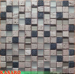 Travertine Stone Mix Glass Mosaic Tile Wall Decoration (KSL6682)