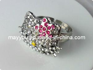 Fashion Jewelry-Rhinestones Adjustable Finger Ring