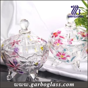 Spray Color Lily Design Glass Candy Jar (GB1804LB/P) pictures & photos