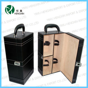 Faux Leather 2 Wine Bottles Storage Packing Cases Boxes (HX-PW012) pictures & photos
