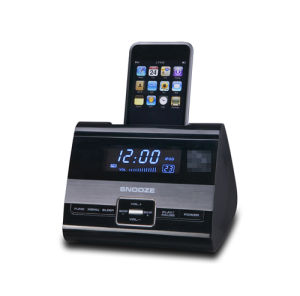 china dock with dual alarm clock radio for iphone ip25 china clock rdaio. Black Bedroom Furniture Sets. Home Design Ideas