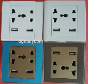 universal wall socket with dual usb charger usa plug socket